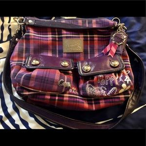 Coach purple plaid purse
